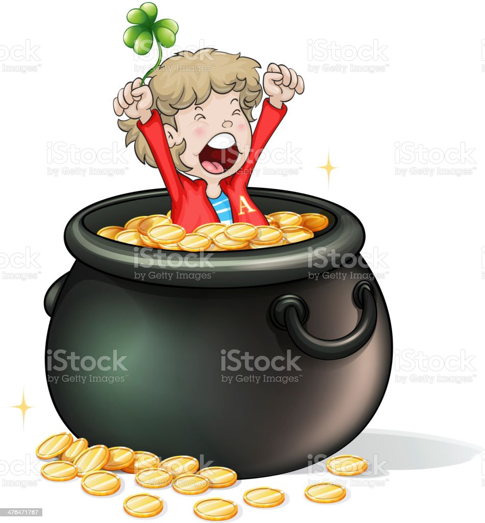 Young boy inside a pot full of coins royalty-free stock vector art