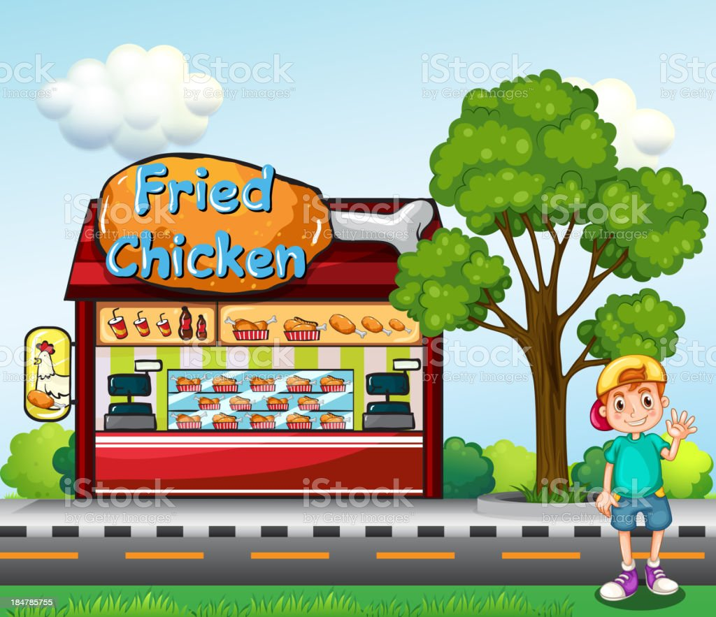 young boy near the fried chicken store royalty-free stock vector art