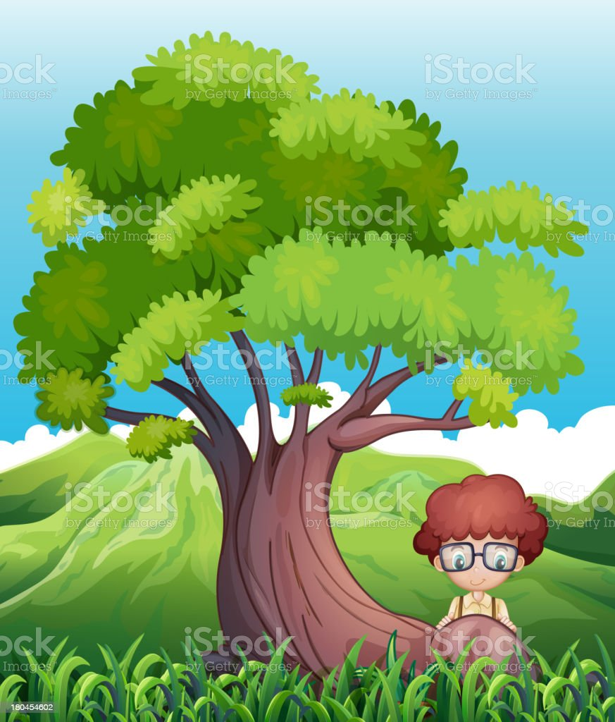 young boy near the roots of giant tree royalty-free stock vector art