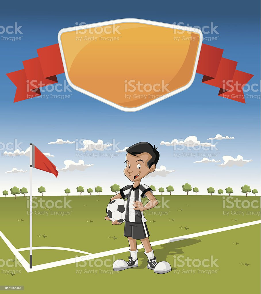 young boy on soccer field royalty-free stock vector art