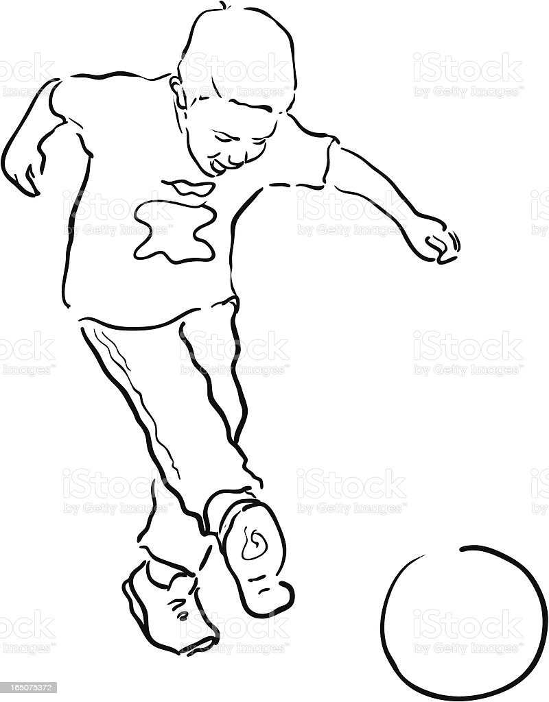Young Boy playing soccer - Line drawing royalty-free stock vector art
