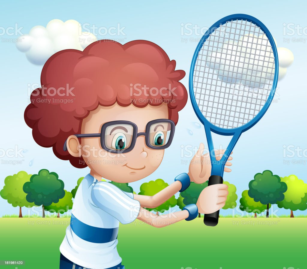 young boy playing tennis royalty-free stock vector art