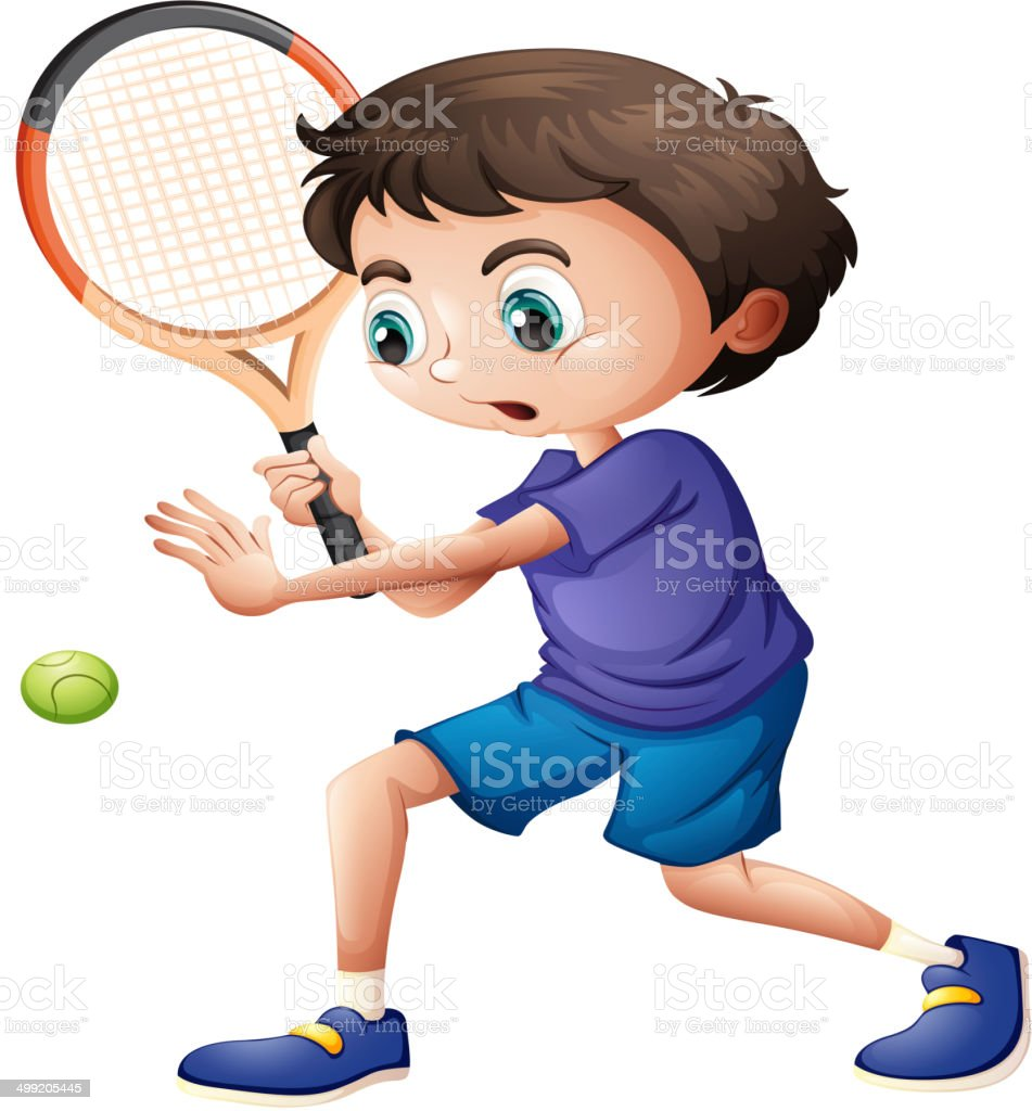 Young boy playing tennis vector art illustration