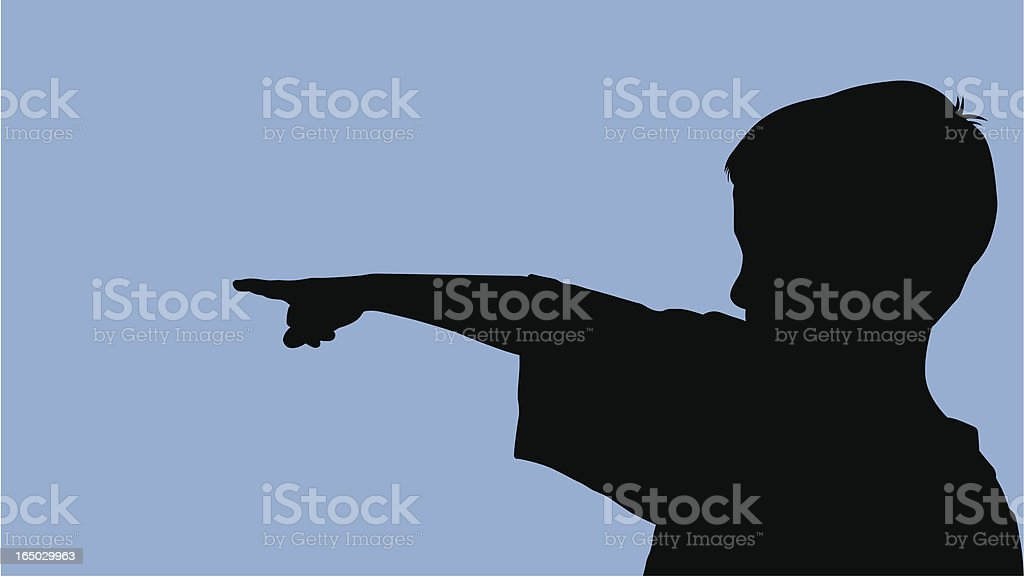 Young Boy Pointing (vector) royalty-free stock vector art