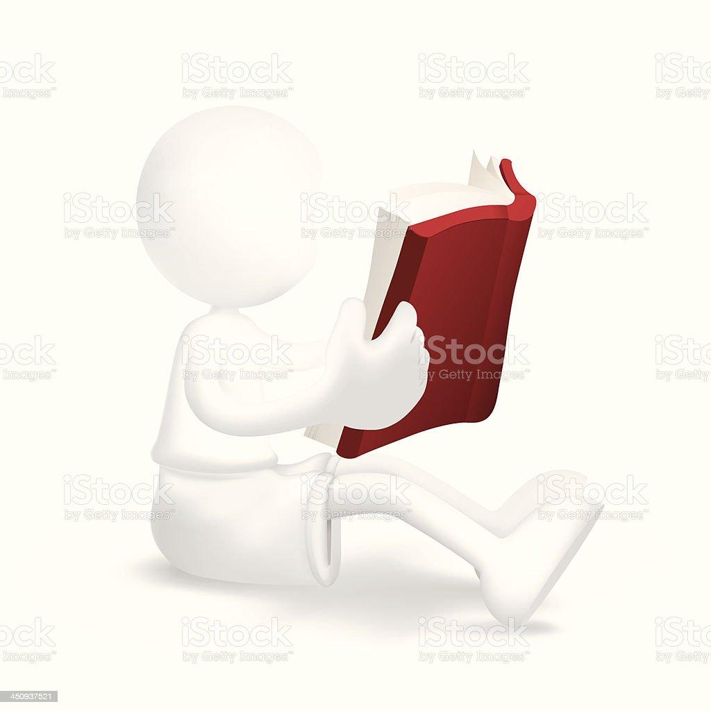 Young boy reading book royalty-free stock vector art