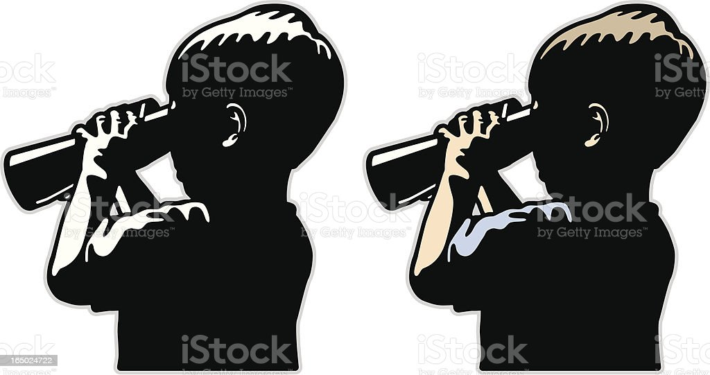 Young boy searching with binoculars. vector art illustration