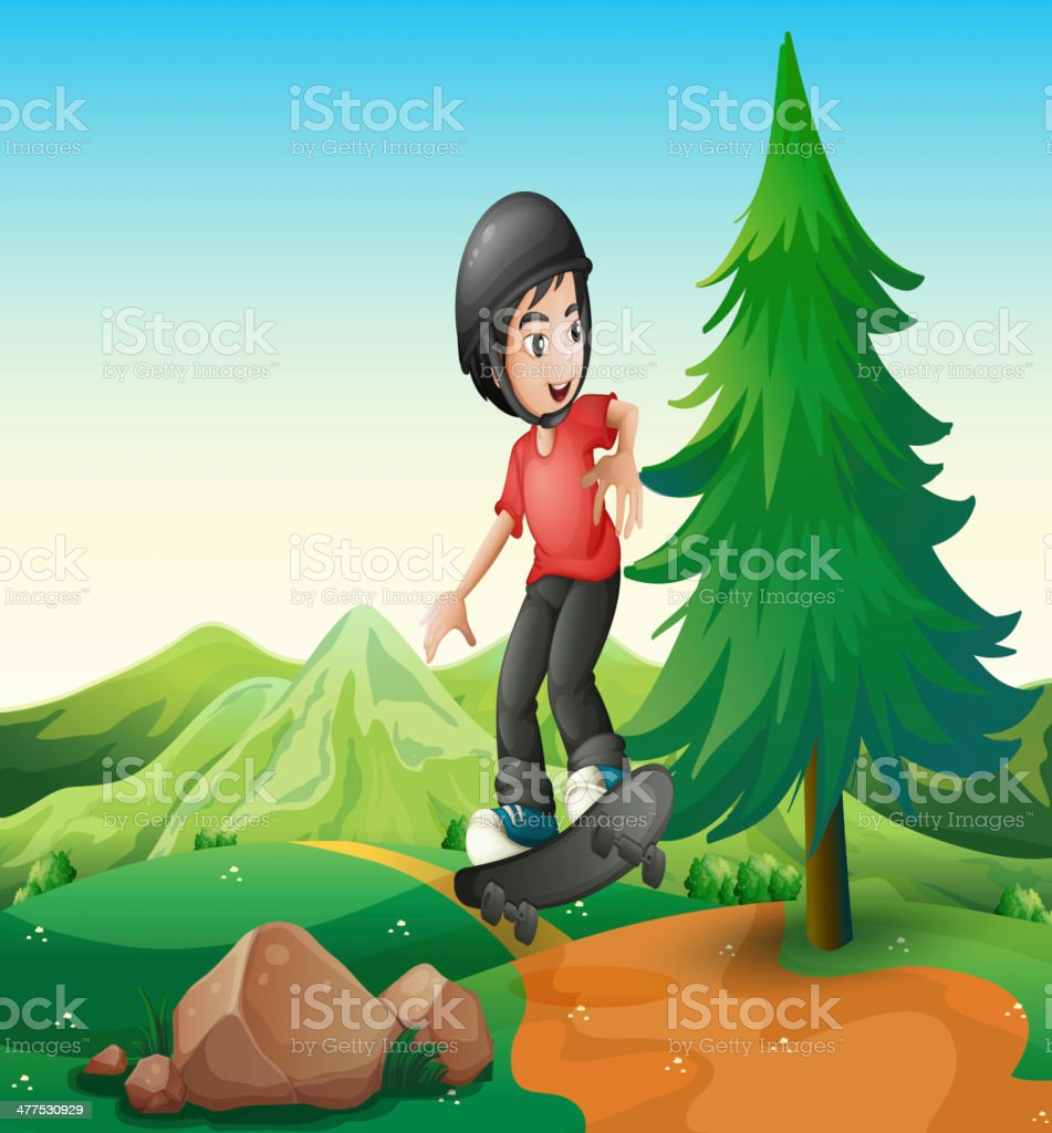 young boy skateboarding at the hilltop royalty-free stock vector art