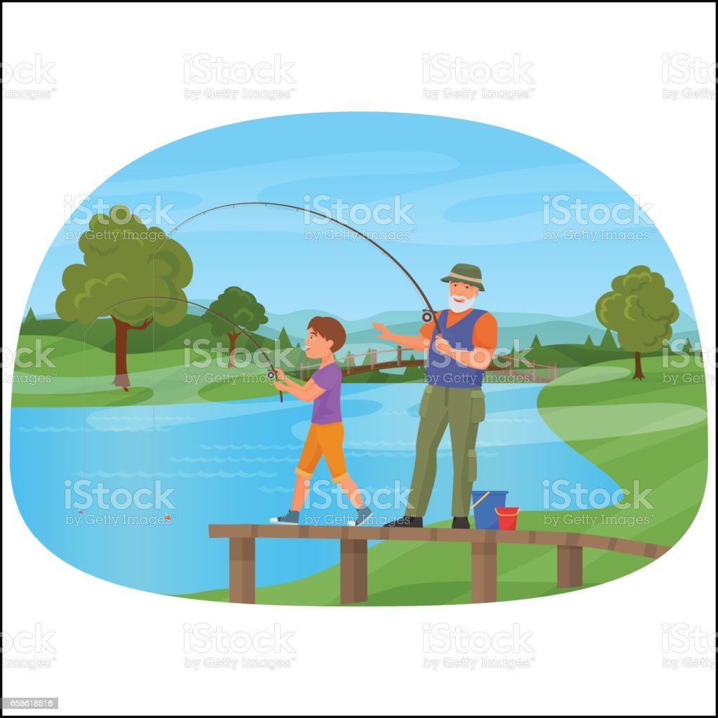 Young boy standing on a pier with grandfather and fishing vector art illustration