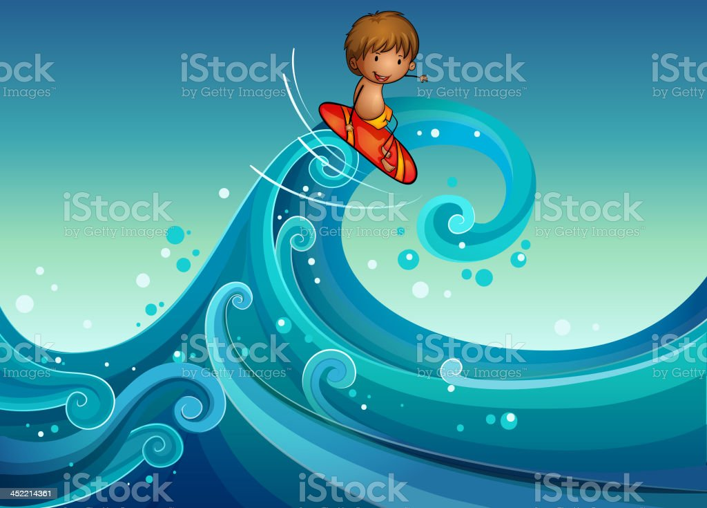 young boy surfing royalty-free stock vector art