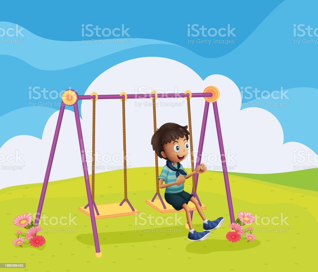 young boy swinging royalty-free stock vector art