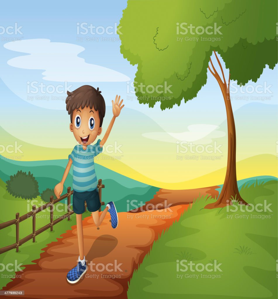 Young boy waving his hand while running royalty-free stock vector art