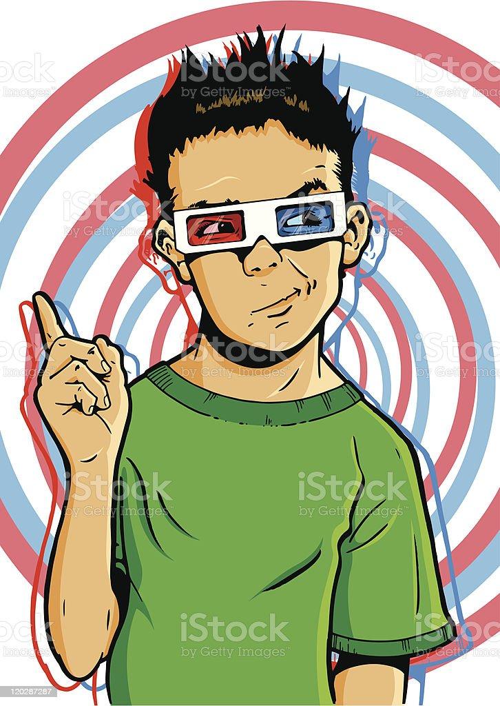 Young boy wearing 3D glasses vector art illustration