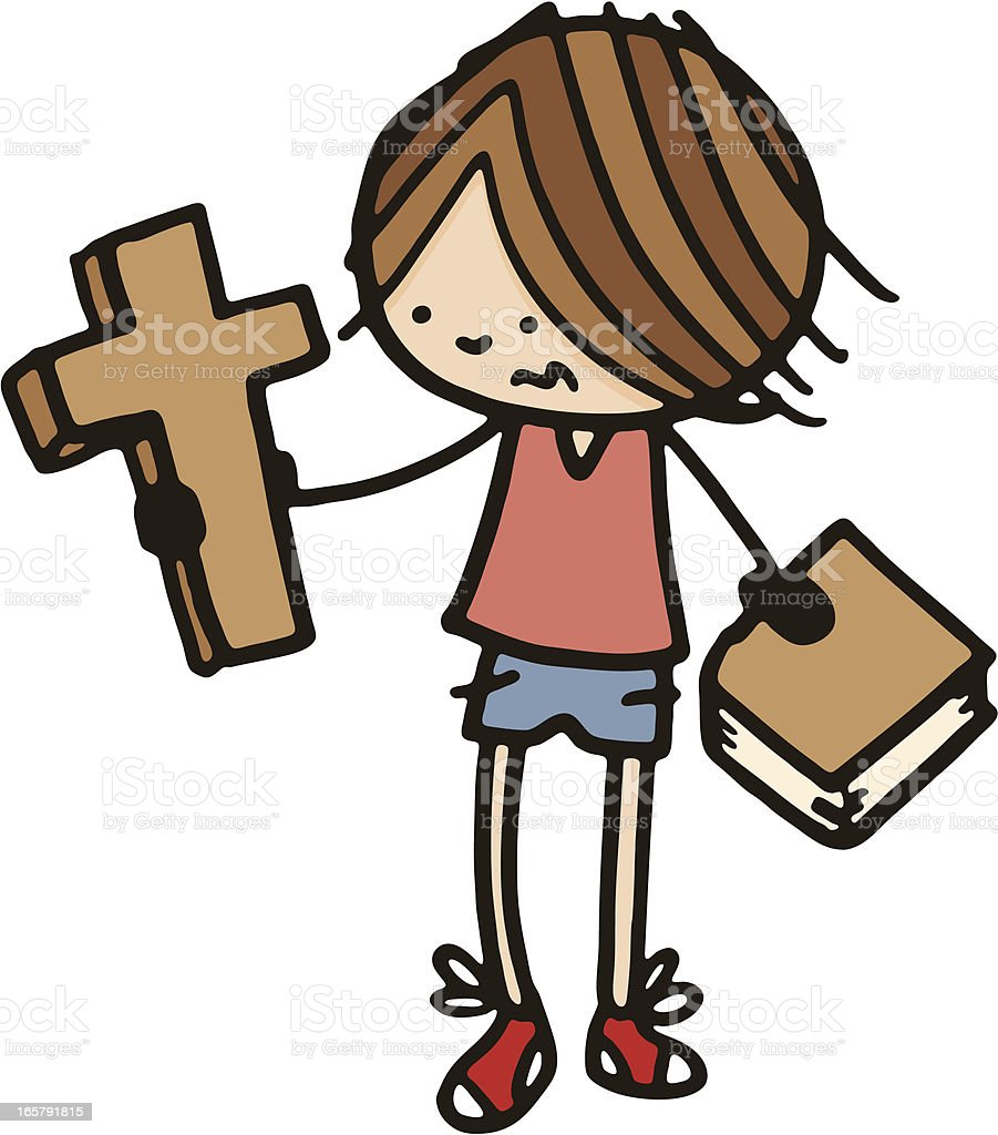 Young boy with a cross and bible royalty-free stock vector art
