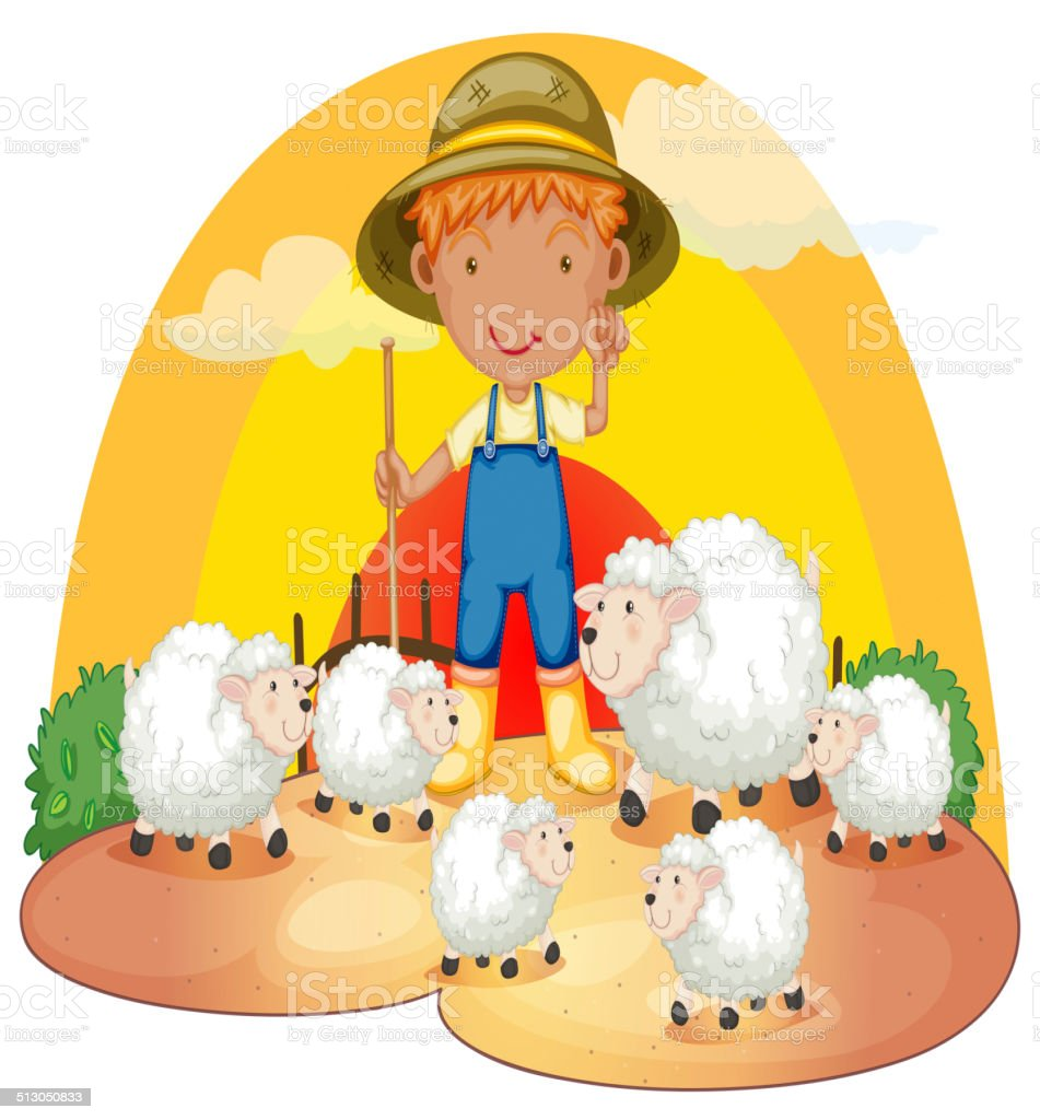 Young boy with his sheeps vector art illustration