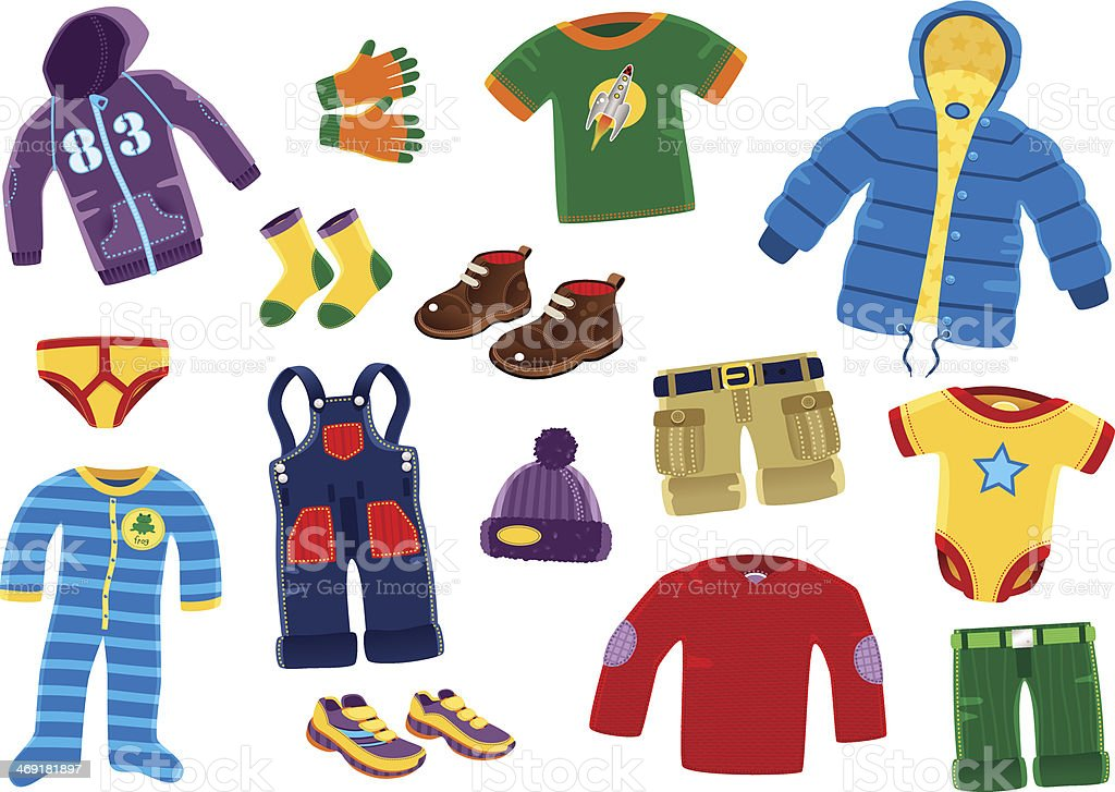 Young boys clothing items vector art illustration