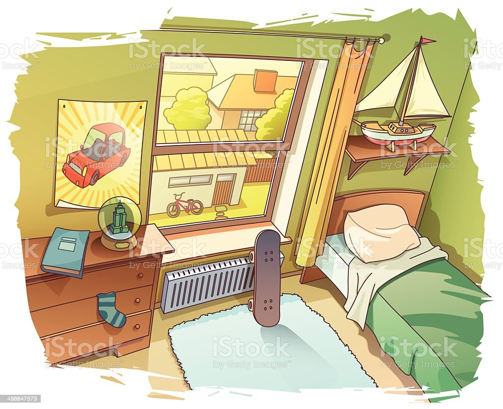 Young Boy's Room vector art illustration
