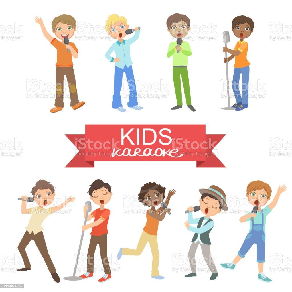 Young Boys Singing In Karaoke vector art illustration