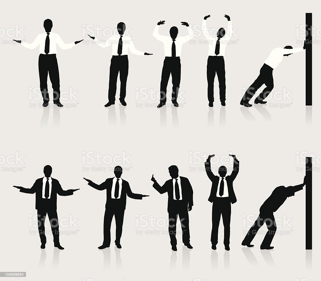 Young business man silhouettes vector art illustration