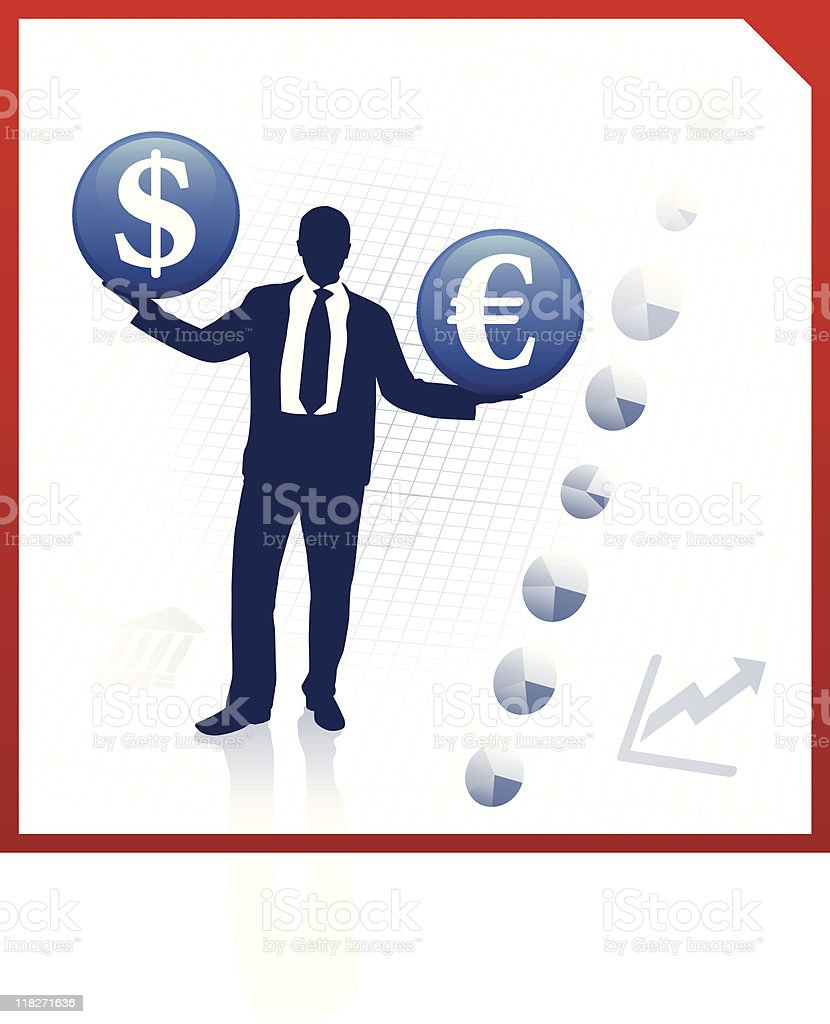Young business man silhouettes with currency symbols royalty-free stock vector art