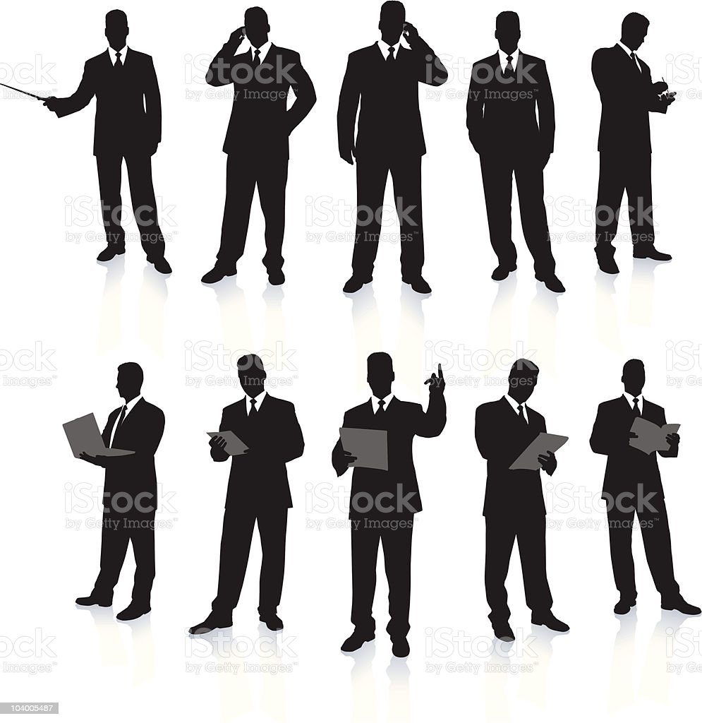 Young business men silhouettes working in suits vector art illustration