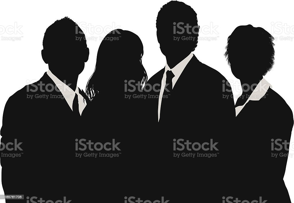 Young business people group silhouette royalty-free stock vector art