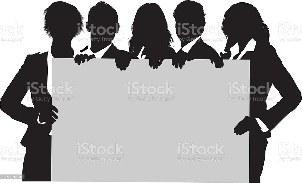 Young business people holding up blank sign board vector art illustration