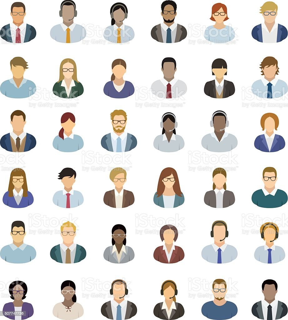 Young Business People – Icons set vector art illustration