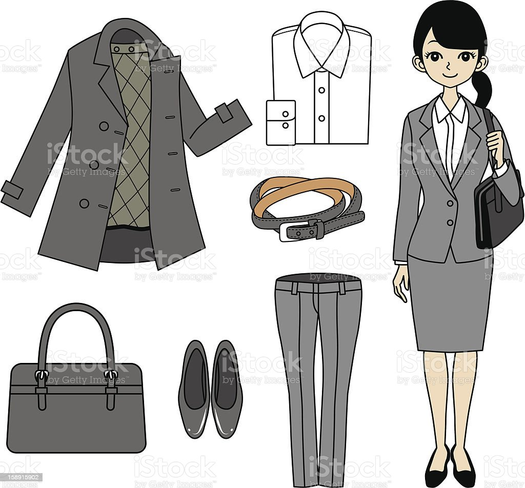Young Business Woman and Item set royalty-free stock vector art