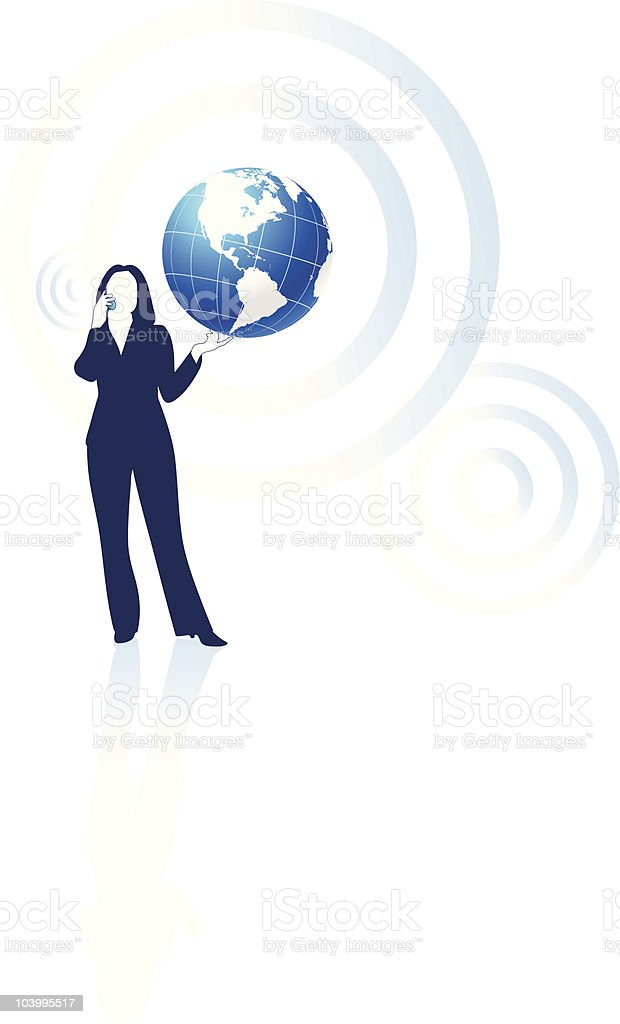 Young business woman global communication concept royalty-free stock vector art
