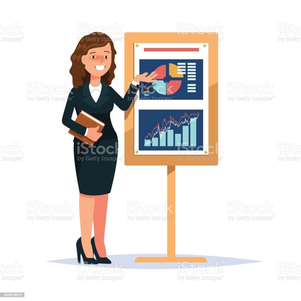Young business woman whiteboard presentation vector art illustration