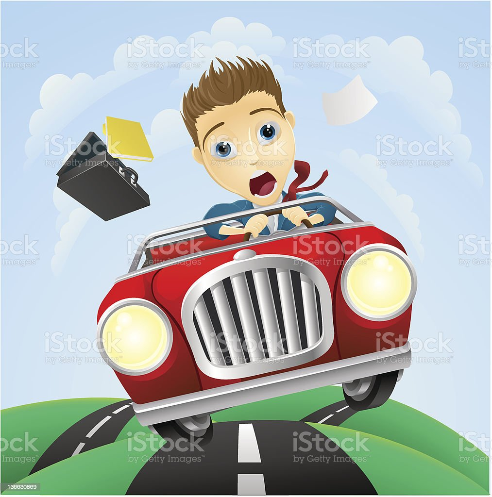 Young businessman driving fast classic car royalty-free stock vector art