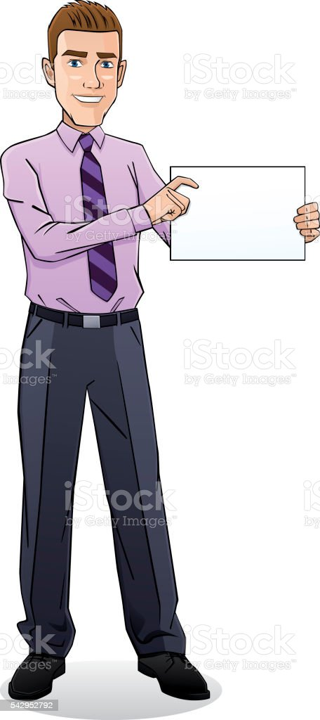 Young businessman holding a document vector art illustration