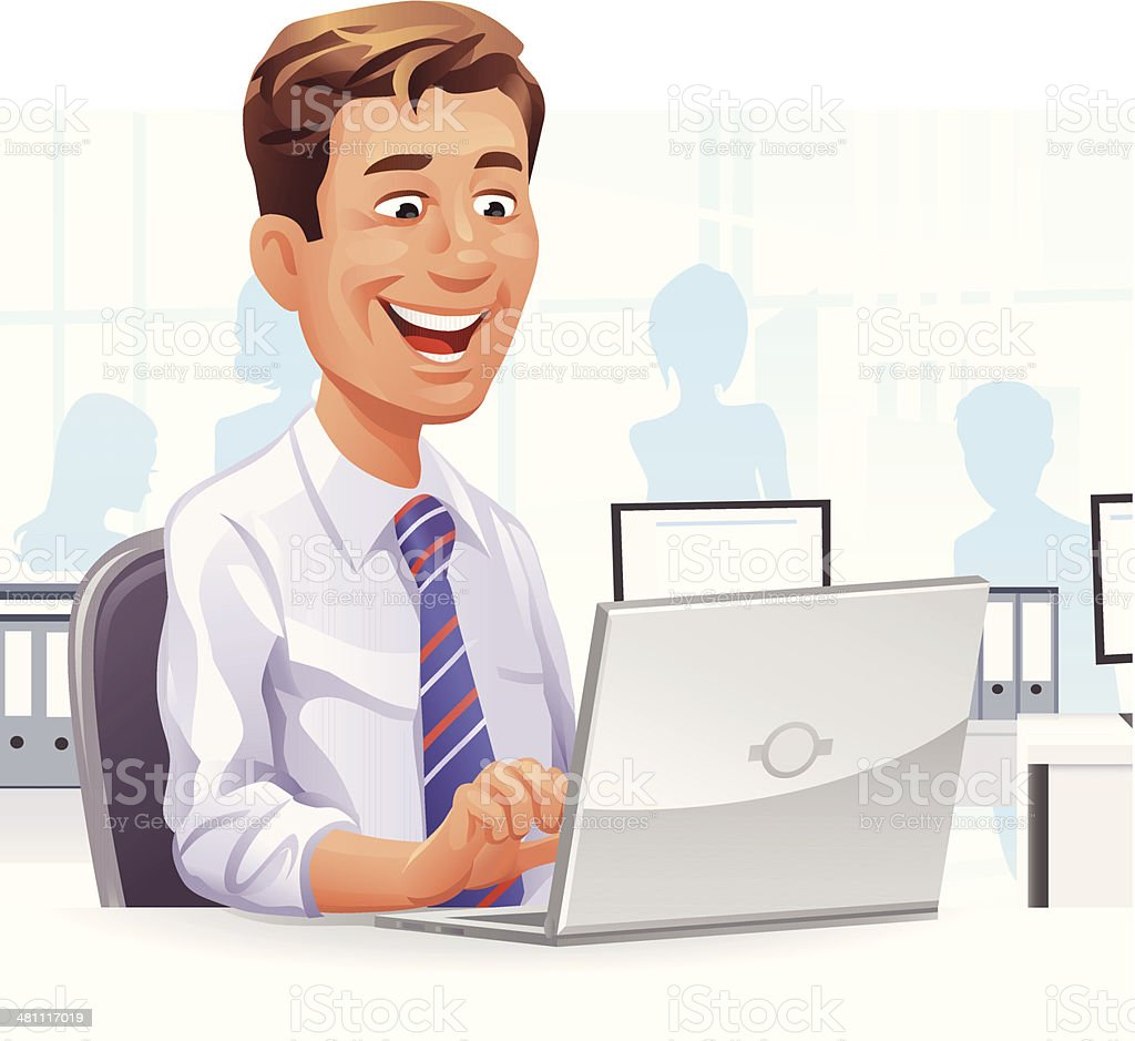 Young Businessman In The Office vector art illustration