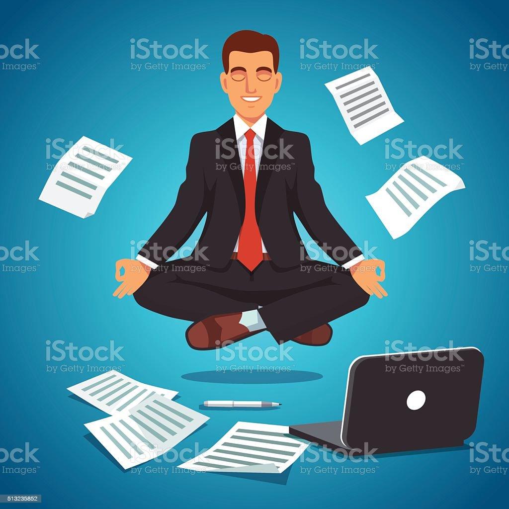 Young businessman levitating in yoga position vector art illustration