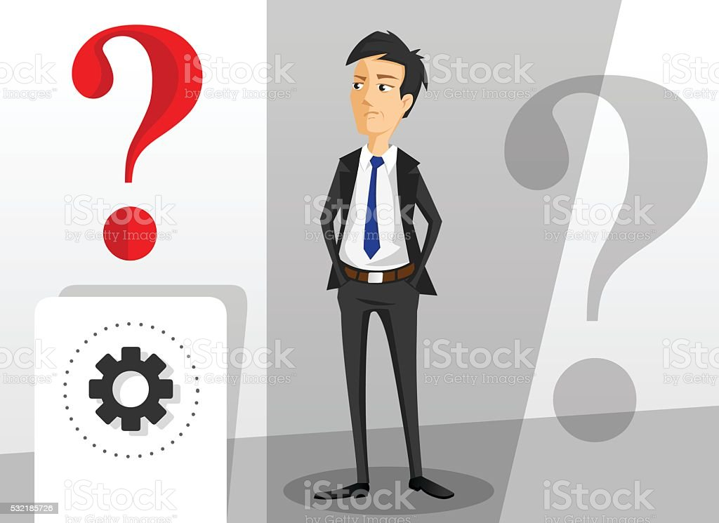 Young businessman looking for new solution concept vector art illustration