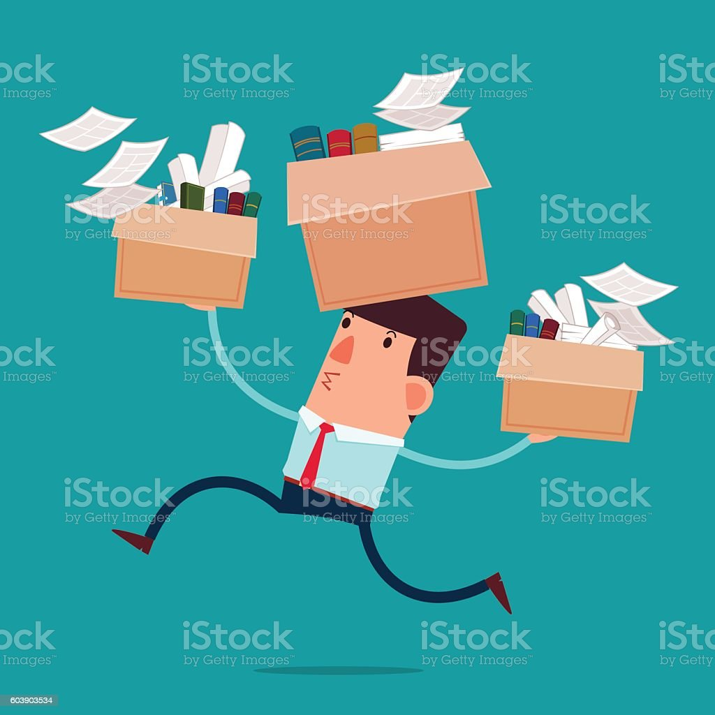 young businessman moving to new office vector art illustration