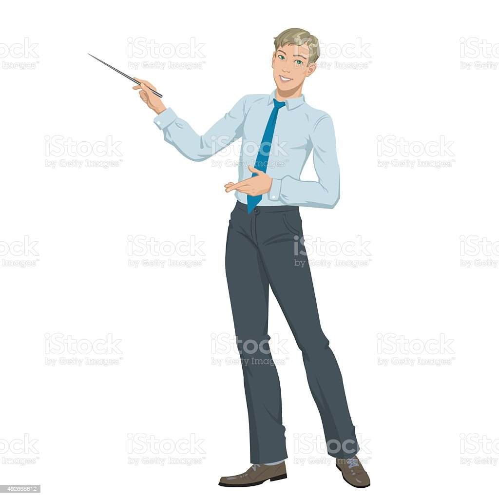 young businessman presenting royalty-free stock vector art