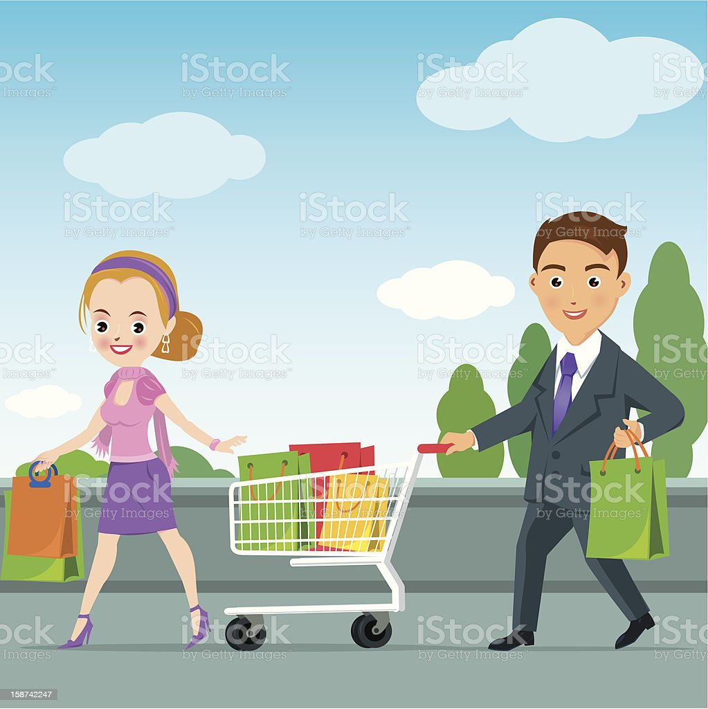 Young businessman shopping with her girl royalty-free stock vector art
