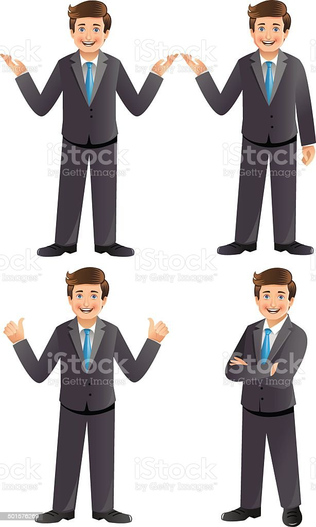 Young businessman standing in different poses - Illustration vector art illustration