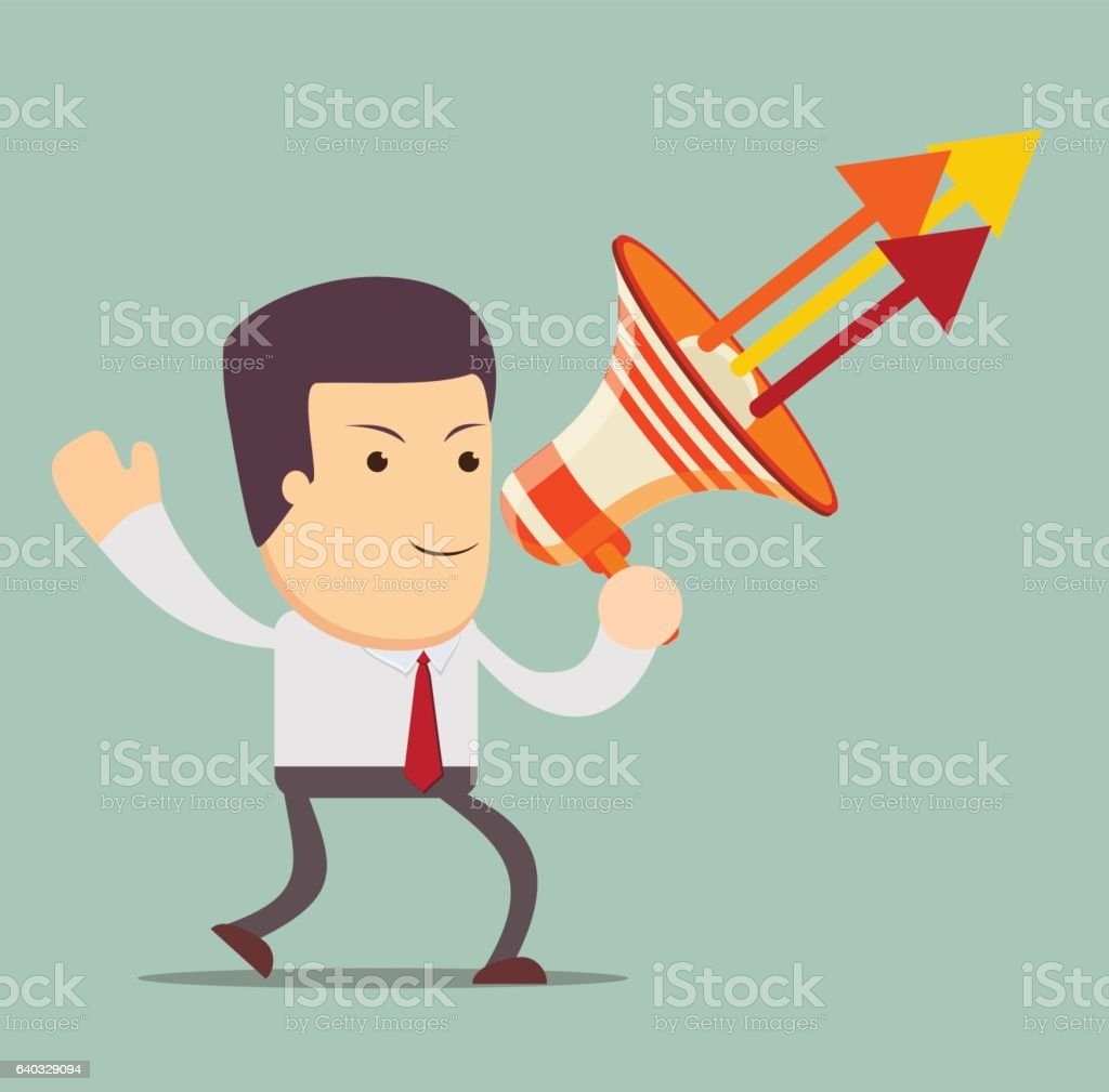 Young businessman with a megaphone vector art illustration