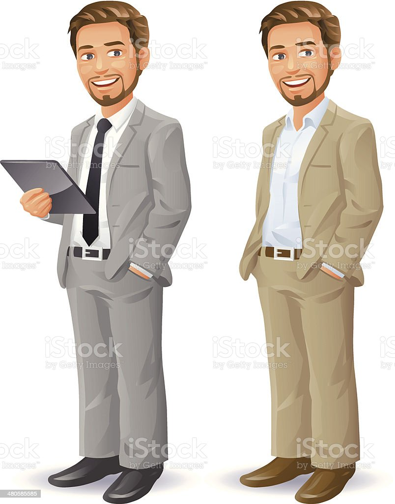 Young Businessman With Beard vector art illustration