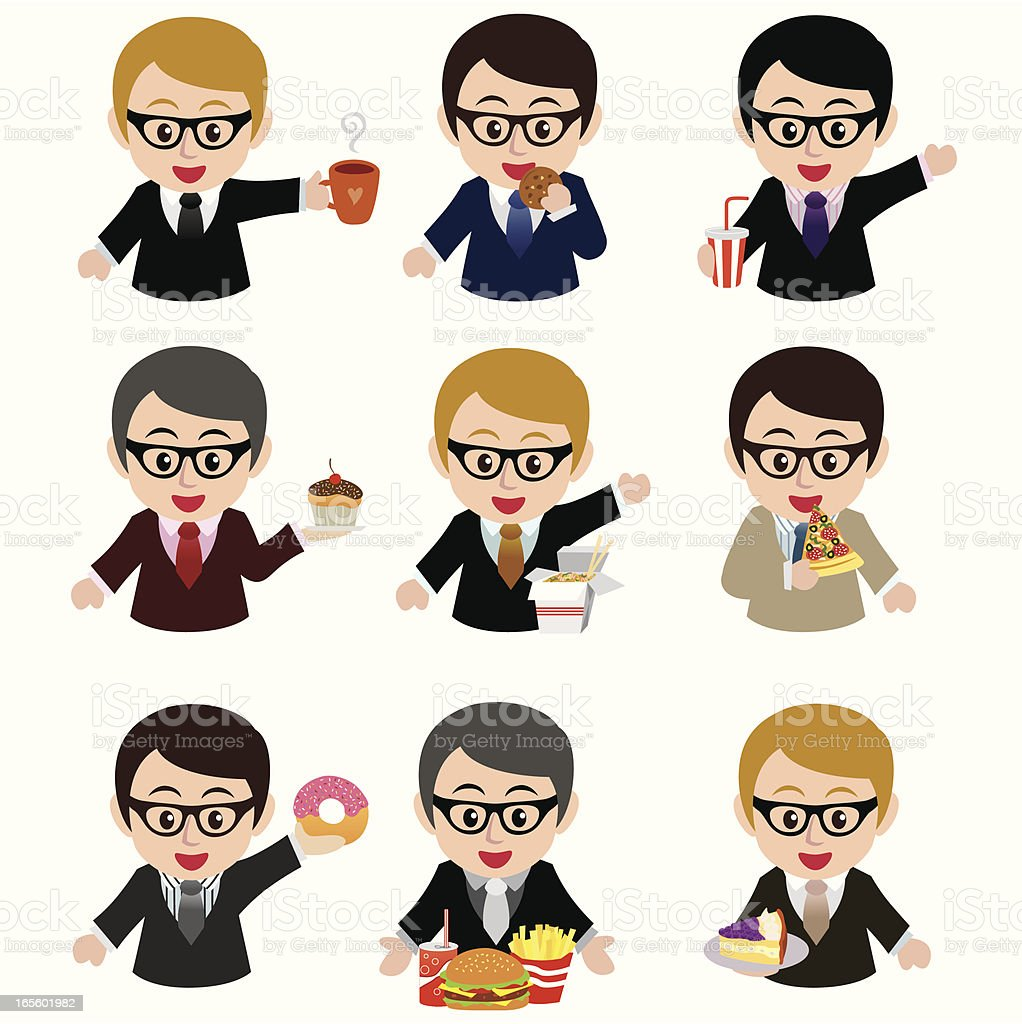 young businessman with junk food vector art illustration