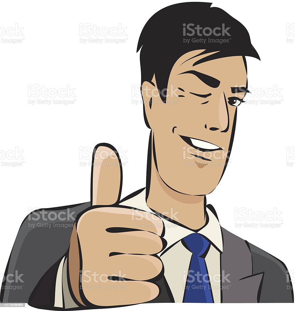 Young businessman with thumb up royalty-free stock vector art