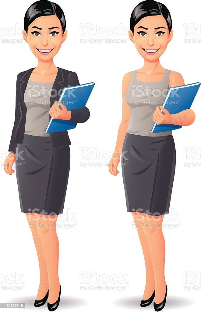Young Businesswoman Holding A Folder vector art illustration