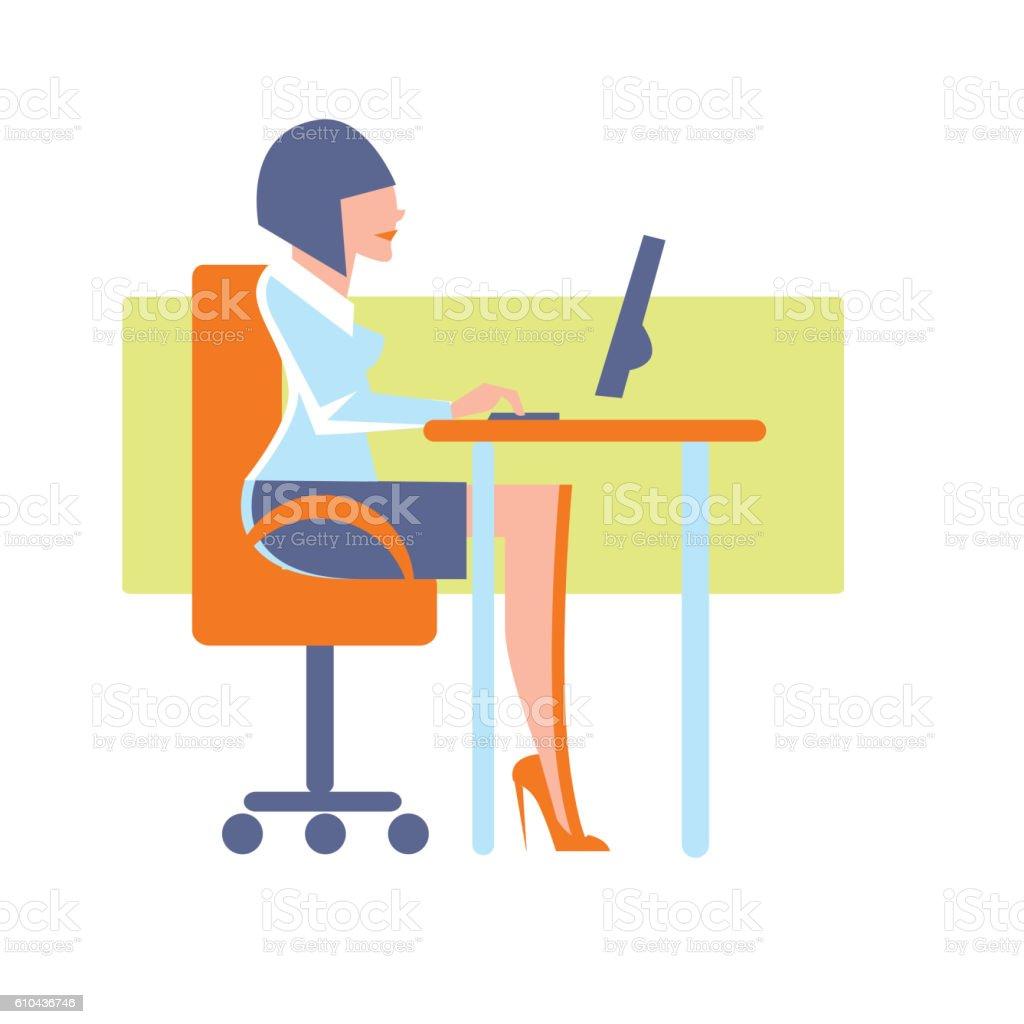 Young businesswoman using desktop computer vector art illustration