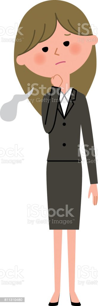 Young businesswoman,Sigh vector art illustration