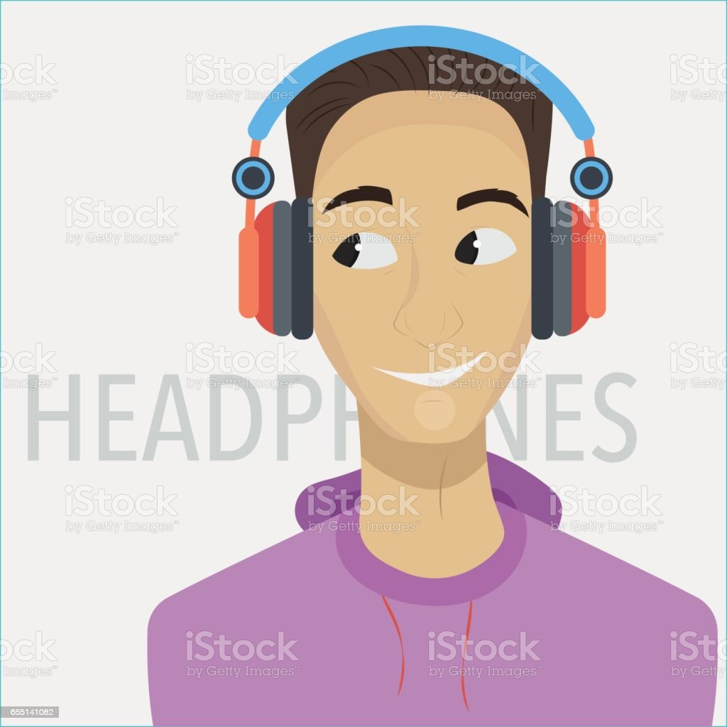 Young cartoon man with headphones vector art illustration