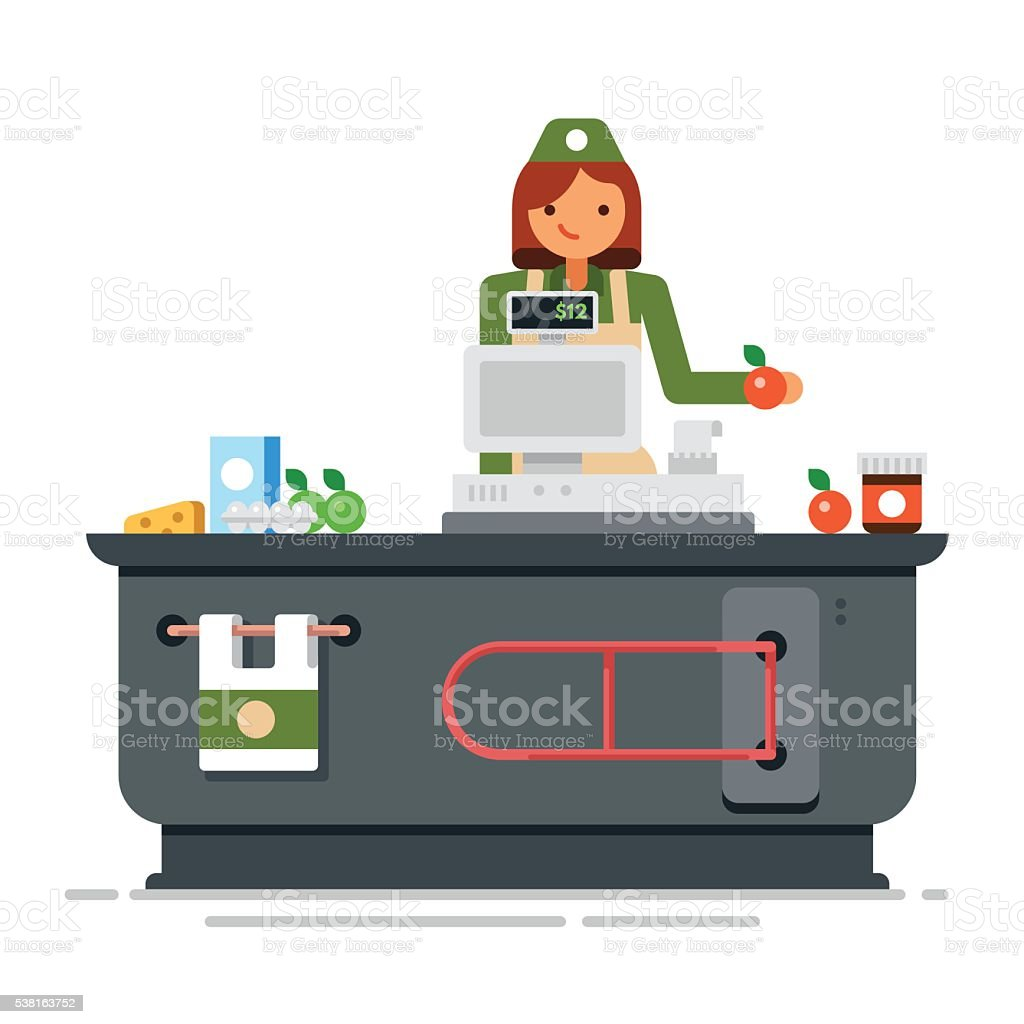 Young cashier woman standing in supermarket. vector art illustration