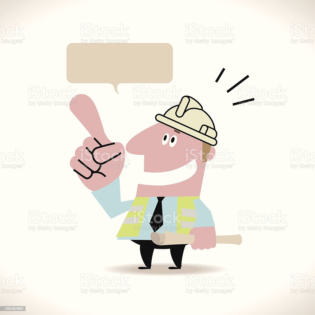 Young Caucasian Architect Showing Something royalty-free stock vector art