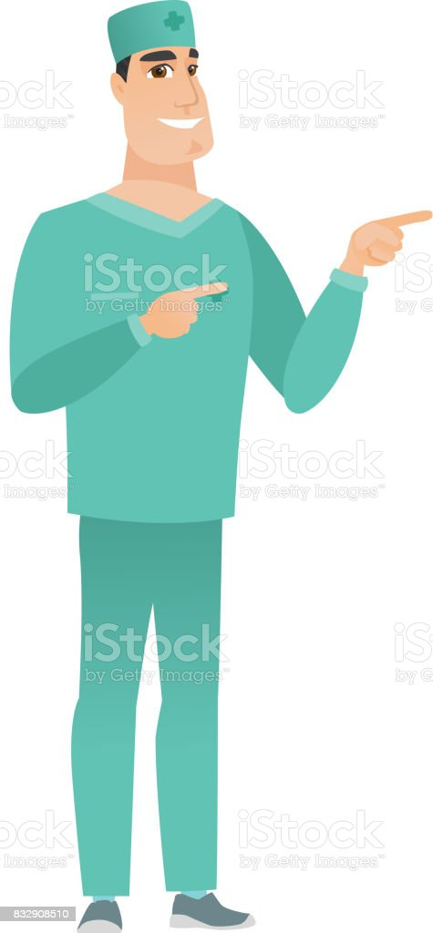 Young caucasian doctor pointing to the side vector art illustration